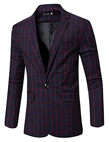 Jeansian Hommes Mode Costumes Casual Vestes Men's Fashion Plaid Lapel