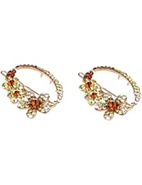 Pink Rose - Princess Collection Multicolour Alloy Stone Hair Clips For Women/Girls (Set Of 2) - B071XSNDRX