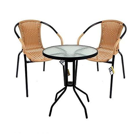 Marko Outdoor 3 Piece Bistro Set Garden Patio Tan Wicker Rattan Outdoor Furniture Table Chairs by Marko Outdoor
