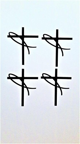 Jesus Fisch Kreuz (4Stück) Religiöse Symbol Christian Vinyl Aufkleber Sticker|Black|Cars Trucks Vans SUV Laptops Wall Art|3
