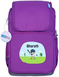 UniQBees Personalised School Bag With Name (Smart Kids Large School Backpack-Purple-Rugby)