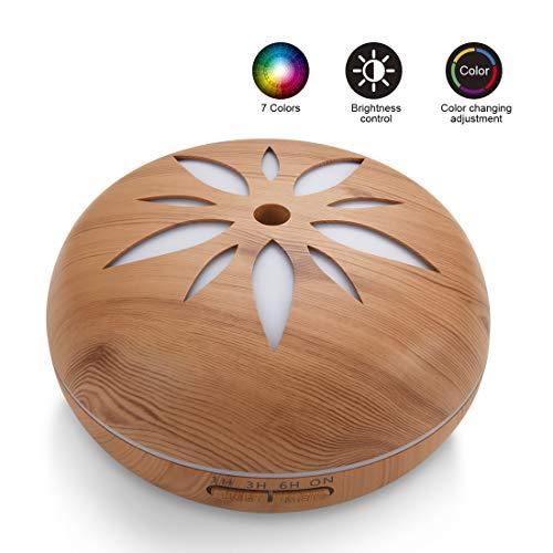 Sealive Humidificador Aromaterapia Ultrasónico, Difusor de Aceites Esenciales 550ml, 7-Color LED, Seguro y Elegante, 3-Ajuste de Tiempo Fijo, Auto-Apaga, purificar el Aire y mejorara el Aire seco