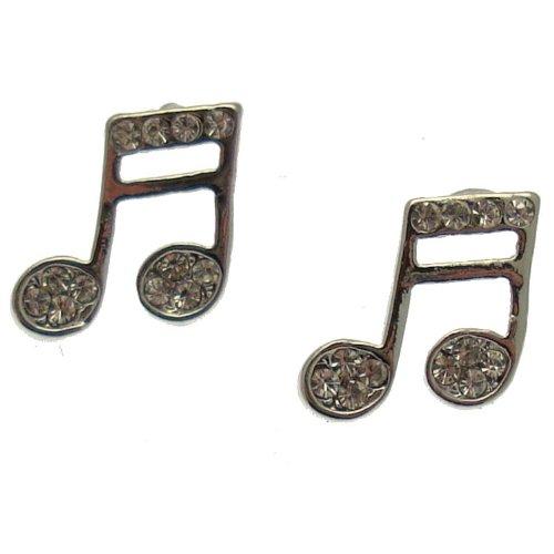 Acosta - pequeño tono plateado lámpara de techo con cristales - notas musicales Juego de pendientes de tuerca - caja de regalo