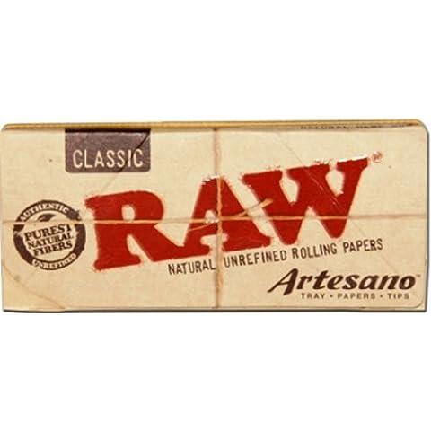 Raw Artesano Classic King size slim, 32carte, 32punte e un vassoio–1Confezione da (Miscele Carte)