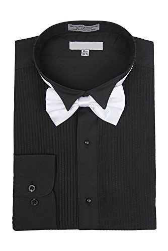 Sunrise Outlet Men's Wingtip Collar Pleated Tuxedo Shirt Bow Tie - Black 15.5 34-35 (Button-down-tuxedo)