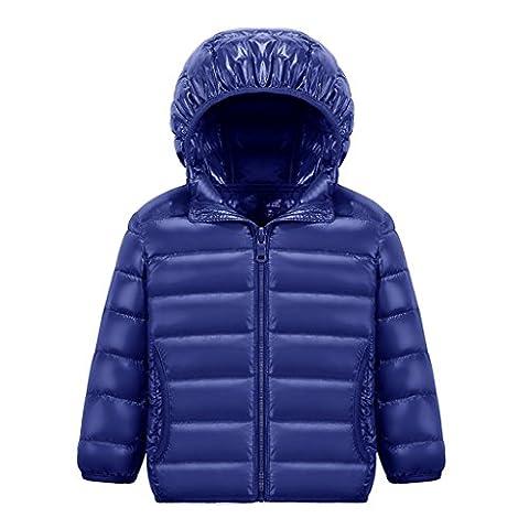 MUXILOVE Kinder Daunenjacke Winterjacke leicht duenn Daunenmantel Jungen Maedchen Ultra Leiccht Warm down Jacket mit Kapuze Dunkelblau