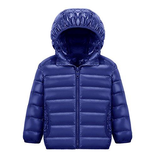 MUXILOVE Kinder Daunenjacke Winterjacke leicht duenn Daunenmantel Jungen Maedchen Ultra Leiccht Warm down Jacket mit Kapuze Dunkelblau 100