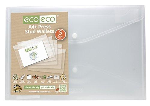 5x eco-eco A4 +95% TRANSPARENTE RECICLADAS cierre con botón FUNDAS SOBRE Carpeta