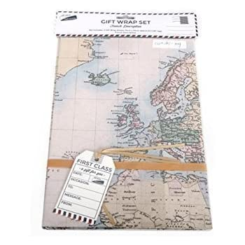 Cavallini world map wrapping paper amazon office products 2 x sheets gift wrap wrapping paper tags map design birthday fathers day gumiabroncs Choice Image