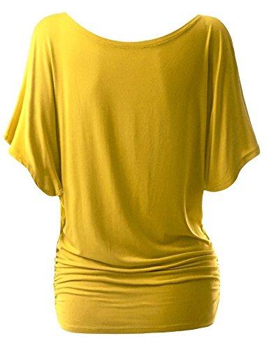 Junshan Femme T-Shirt Veste Avec Manches Courtes Femme Blouson en Vrac Femme T-Shirt Col Bateau Col Rond Chandail Top Tricot Casual Shirt Jaune