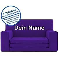 2 in 1 Kindersofa in Lila mit Waschbarem Überzug - Als Geschenk Individuell Bedrucken - Schaumstoff aus Deutschland Spielzeug Couch und Bett Schlaf Matratze zum Auffalten für Kinder von 1-4