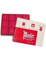 Original USA Tizas para billar Master, 12 unidades en caja (azul/verde/rojo/gris) - rojo