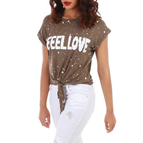 La Modeuse - T-shirt ample à manches courtes Kaki