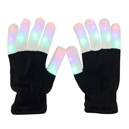 Aomeiqi leuchtende Handschuhe, LED blinkende bunte Finger Gloves, Coole Spielzeuge Handschuhe mit LED, lustige Handschuhe als Geschenke zu Weihnachten Geburtstag und Karneval für Kinder Mädchen Junge, leuchende Handschue Finger Spielzeuge (Sache Kostüme Eins Zwei)
