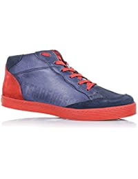 BIKKEMBERGS - Zapatilla Azul/Rojo con cordones, en cuero y gamuza, cremallera lateral, costuras visibles y suela en caucho, Niño, Niños