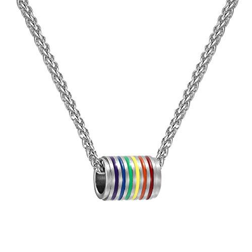 PROSTEEL Edelstahl Anhänger Halskette, Homosexuell LGBT Gay & Lesbian Pride Regenbogen Barrel Anhänger mit 55cm Weizenkette, Silber (Gay Pride Halskette)