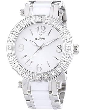 Festina Damen-Armbanduhr Klassik Ceramic Analog Quarz verschiedene Materialien F16643/1