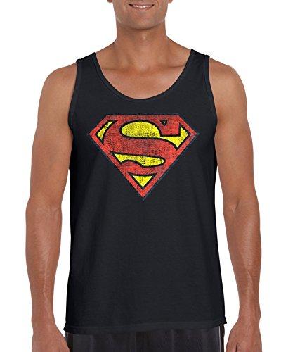 TRVPPY Herren Tank-Top Shirt Modell Vintage Superman, Schwarz, M