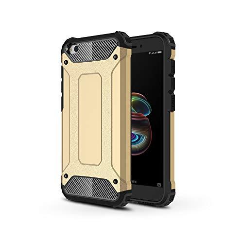 TANYO Funda Adecuado para Xiaomi Redmi Go, Heavy-Duty Anti-Caída Phone Case, Extraíble 2 en 1 a Prueba de Golpes Robusto y Durable Fashion Ultra-Thin Funda Protectora, Dorado