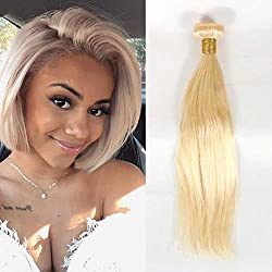 Dai Weier Blond Hair Weft Extension Brazilian Straight Weave Hair 1 Bundle 100% Real Virgin Human Hair Weft Remy Hair Bundle 613 Blonde 14 inch