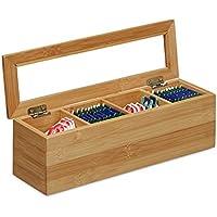 Relaxdays Tee-Box Bambus, 4 Fächer, schmal, Sichtfenster aus Kunststoff, HxBxT: 9 x 30 x 9 cm, klein, länglich, natur