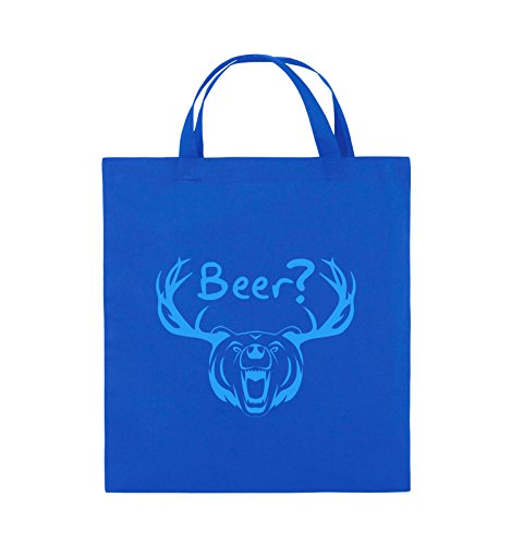 Comedy Bags - Beer? - BÄR GEWEIH - Jutebeutel - kurze Henkel - 38x42cm - Farbe: Schwarz / Silber Royalblau / Blau