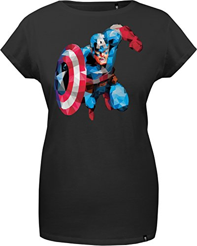 GOZOO The Avengers T-shirt Donna Captain America - Polygon Edition 100% Cotone Nero XL