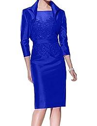 b93d4135b5cd92 Charmant Damen Dunkel Traube Satin Brautmutterkleider Abendkleider  Ballkleider Knie-lang Kleider mit Bolero
