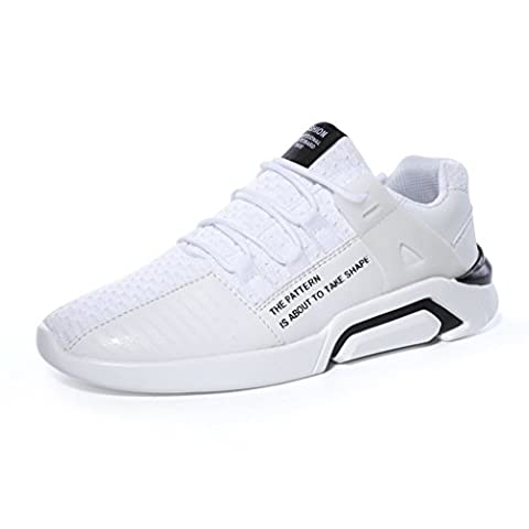 Laiwodun Mens Gym Running Shoe Lace-ups Sports Casual Shoes Breathable Lightweight Trainers Outdoor Athletic Footwear Sneaker(white 43)