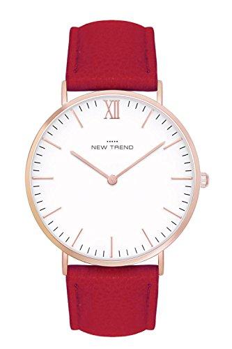 Damenuhr Armbanduhr Trenduhr Farben Rosegold Rose Gold + verschiedene Armbandfarben Beige Braun Lachsrose Nude Grau Schwarz Weiß Lederarmband Herrenuhr Unisex Damen Herren Uhr Uhren Günstig Quarzuhr (Rot)