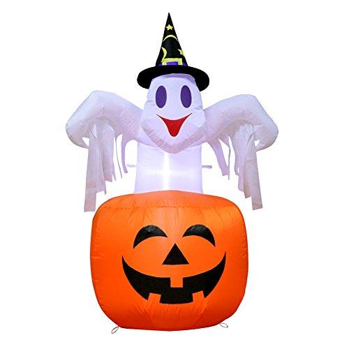 AerWo 4.6ft Halloween aufblasbarer Geist im Kürbis, furchtsamer Schlag im Kürbis für Dekorationen Halloweens im Freien