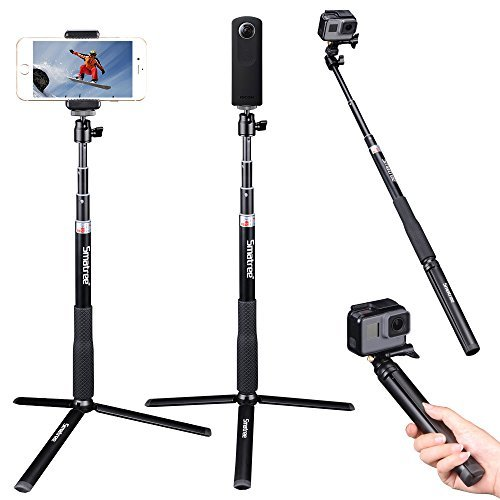 Smatree SmaPole Q3S Telescoping Selfie Stick with Tripod Stand for GoPro Hero 2018 Action Camera/GoPro Fusion/Hero 6/5/4/3+/3/2/1/Session Cameras, Ricoh Theta S, M15 Cameras, Compact Cameras and Cell Phones
