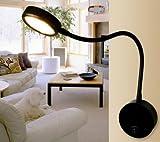 LED Röhre Lampe Zähler Lampe 3W LED Wall Lamp Krankenbett Leselicht leichten Biegungen der Schlauch Spiegel Lampe (schwarz)