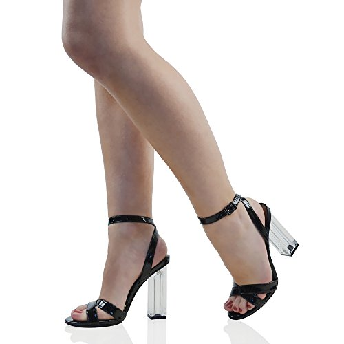 ESSEX GLAM Scarpa Donna Sintetica Sandalo Peep Toe Tacco Alto Cinturino Caviglia Fibbia Festa Nero Brevetto