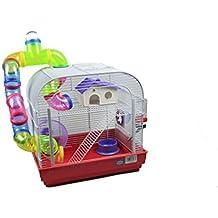 DZL jaula para hamster29.5X29.5X38CM) color azul,purpura y rojo indica color preferido, si no, el color de la entrega a azar