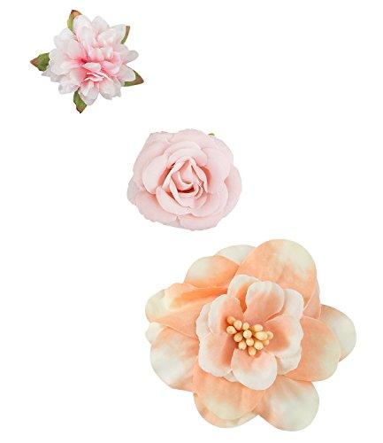 SIX Blumen 3 süße textile Haarspangen in rosa pink orange Rose Seerose Feier Hochzeit Mädchen Damen Festival Party (488-235)