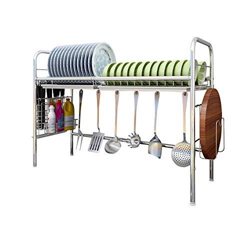 Dish drainer rack Escurreplatos para Platos escurridor Fregadero de Acero Inoxidable Estante de Secado de múltiples Cubiertos Estante para Fregadero Doble