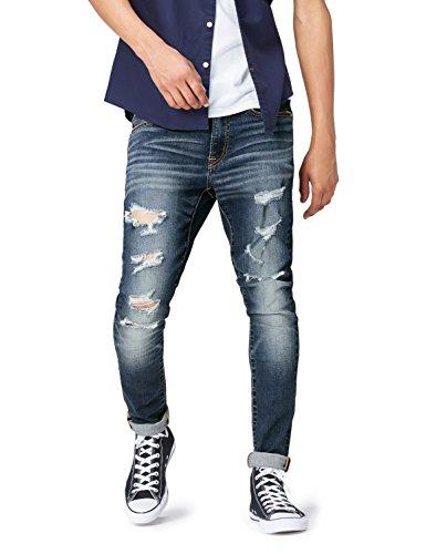 FIND Vaqueros Skinny con Rotos para Hombre, Azul (Indigo), W36/L34 (Talla del fabricante: 36)