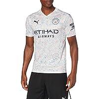 PUMA MCFC Third Shirt Replica SS with Sponsor Logo Camiseta, Hombre, Whisper White/Peacoat, L