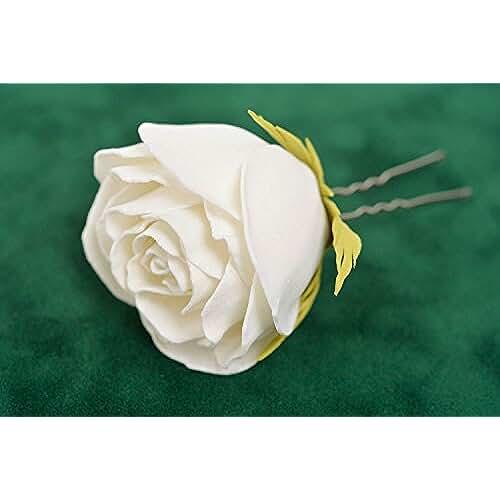 goma eva kawaii Horquilla para el pelo artesanal de goma EVA con forma de capullo de rosa blanca