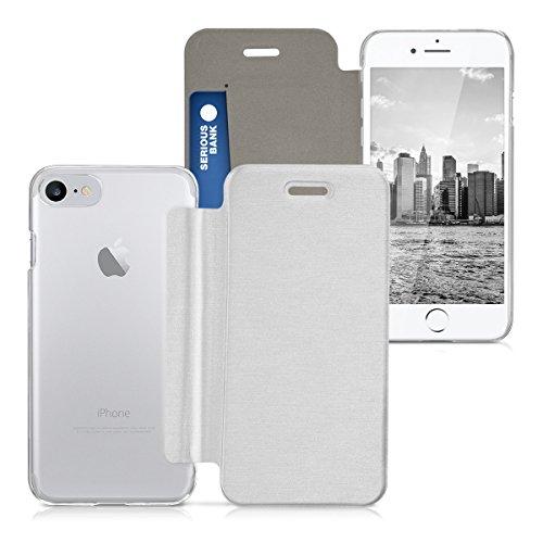 kwmobile Housse flip case pour Apple iPhone 7 / 8 - Étui de protection rabattable style flip cover en argenté transparent .argenté transparent