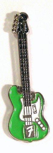 Anstecknadel, Metall, Email, Motiv Rock Musik elektrische Fender Gitarre, Grün