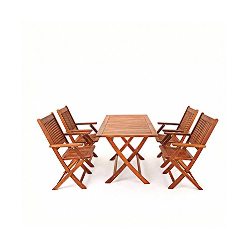 Panana Wooden Folding Picnic Table with 4 Chairs Solid Acacia Wood 4 Seater Dining Furniture Set Indoor Outdoor Garden Patio Bistro