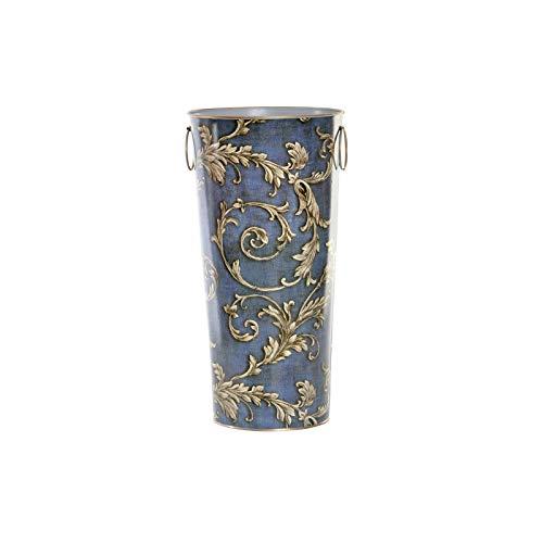 Paragüero Azul Metálico, con Dos Asas/Anillas. Diseño Vintage, con Estilo Barroco (21,5cm X 43cm X 21,5cm) - Hogar y Más