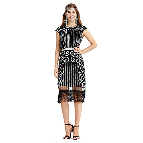 Kostüm Fringe Kleid Flapper - W&TT Gatsby 1920er Jahre Flapper Kleid Frauen Vintage Pailletten Fringe Art-Deco-Kostüm für Party Cocktail Hochzeit Prom,BlackSilver,XXL