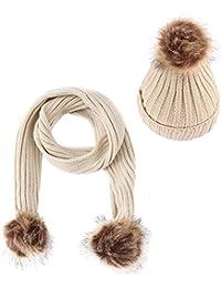 Culer 2pcs para niños Niños Niñas sombrero de la bufanda Conjunto nieve del invierno Beanie cráneo Cap Pompoms Gorro de lana Bufanda Pañuelo Conjunto de 2-10 años
