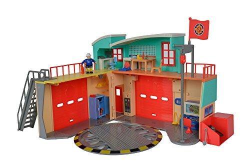 feuerwehrmann sam rescue center Simba 109258282 - Feuerwehrmann Sam Neue Feuerwehrstation mit Steele Figur / Zum Aufklappen / Drehscheibe für Jupiter / Mit Licht und Sound / 41x33cm / 2 Tore zum Öffnen