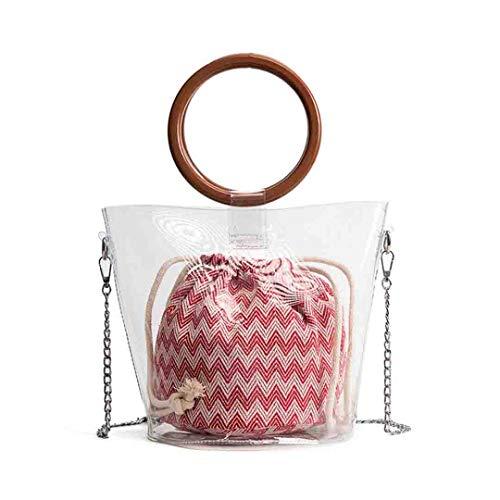 Weinlese-Frauen-Handtaschen-Strand bauscht Sich Neue transparente Gelee Totes-Frauen-hölzerne Ring-Taschen Red - Ring Griff-patent-tasche