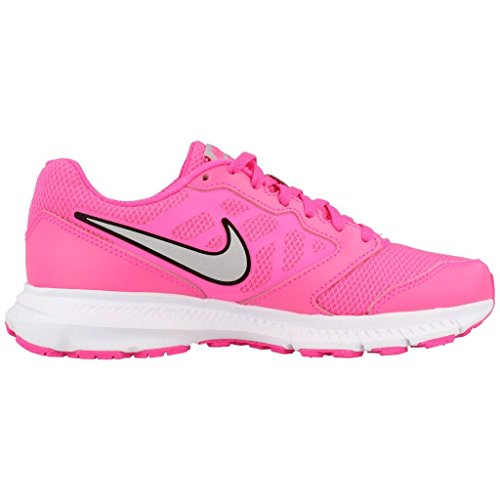 Nike Wmns Downshifter 6, Baskets Basses Femme Pink Blast /Metallic Silver-Wht