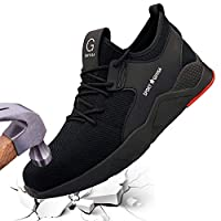 Jeapeer Safety Sneakers for Men,Puncture Proof Work Shoes Lightweight Steel Toe Industrial & Construction Hiking Sneakers,Black,45